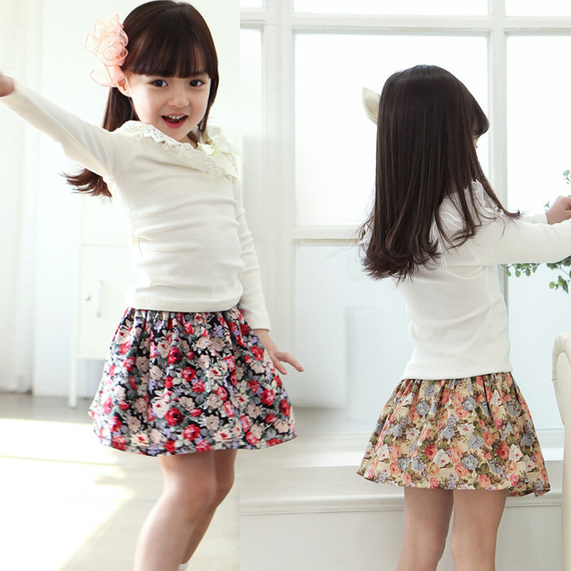 High Quality Summer Fashion Casual Korean Flowers Tutu Skirts Girls Children Short Pettiskirt Cotton Kid Skirt Children Clothing(China (Mainland))