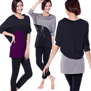 Yoga clothing set for lady 3-piece-set yoga clothes set batwing sleeve seven-point sports clothes plus size casual set hot 184(China (Mainland))
