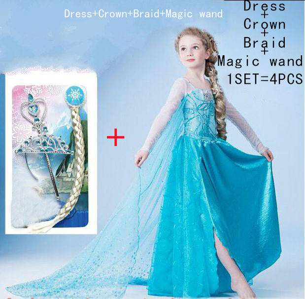 2015 elsa dress girls Dress Custom anna Cosplay Dress kid fantasia vestidos infants Dress Princess Costume for Children 3-10Y(China (Mainland))