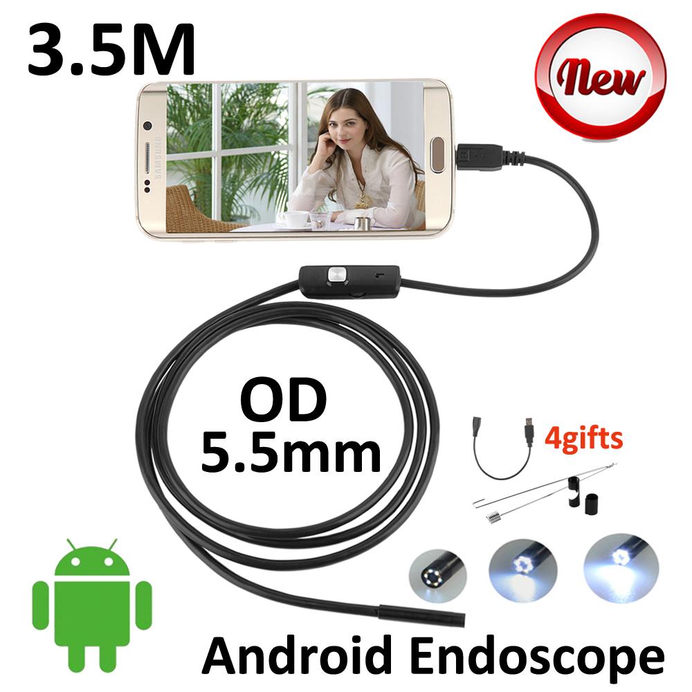 3.5M 2M 1.5M 1M Android USB Endoscope Camera 5.5mm lens Snake USB IP67 Waterproof HD720P micro USB Borescope Camera 6LED(China (Mainland))