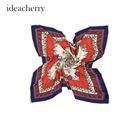 ideacherry Women Imitated Silk Satin Scarves 90 90 100 Twill Square Printed Satin Female Shawl 5
