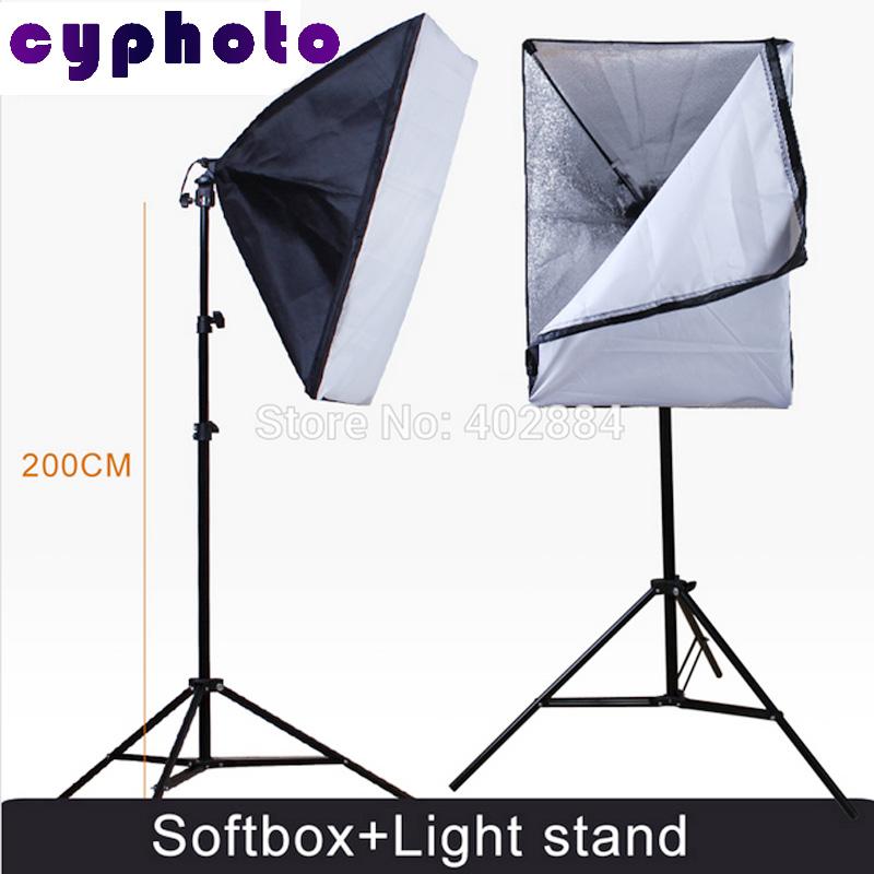 Photography Rectangle Continuous SoftBox Lighting Kit 2pcs 50x70cm Softbox +2pcs Light Holder Stand Photo Studio Equipment Set<br><br>Aliexpress