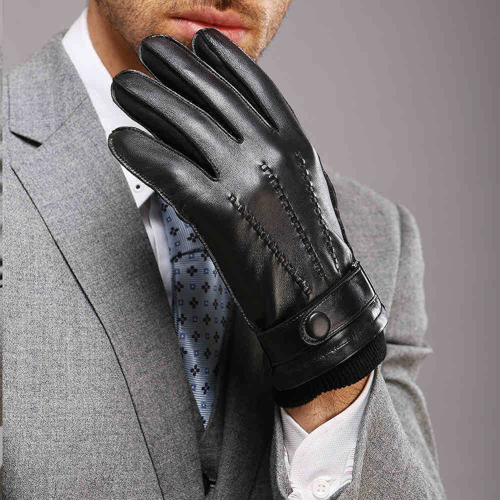 Direct Selling Wrist Men Gloves Thermal Winter Driving Glove Fashion Black Genuine Leather Top Quality Goatskin 2016 Rushed(China (Mainland))
