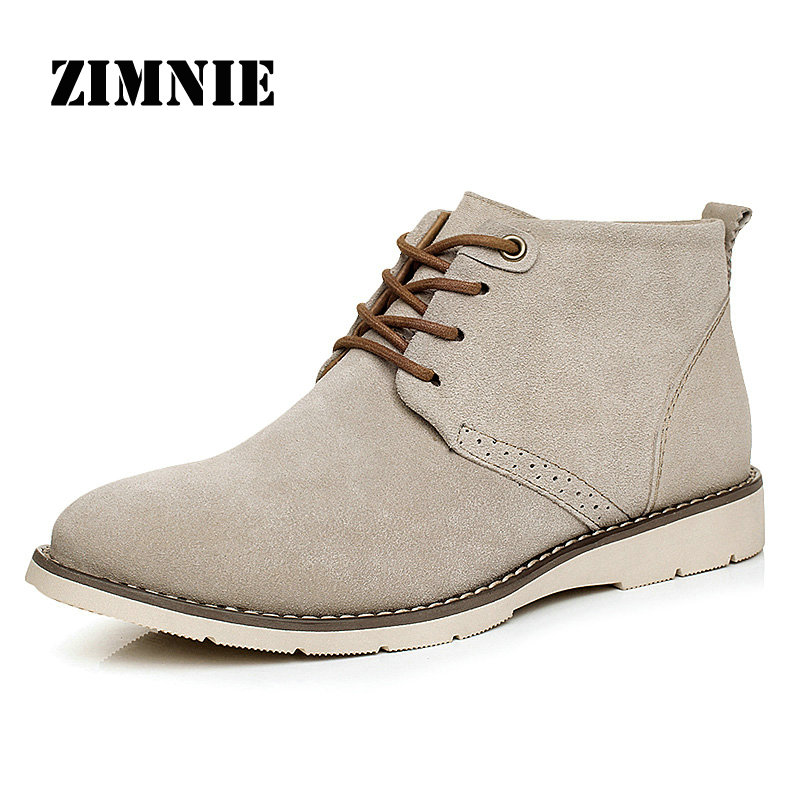 Fashion Men Boots Cow Suede Leather Autumn Winter Men Snow Boots Casual Plus Velvet Warm High Quality Brand Ankle Boots For Men(China (Mainland))