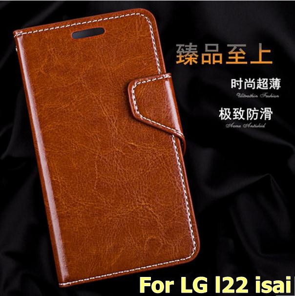 Wallet flip leather card slot case cover LG L22 isai Free Screen Protector - 2015 Special Offer store
