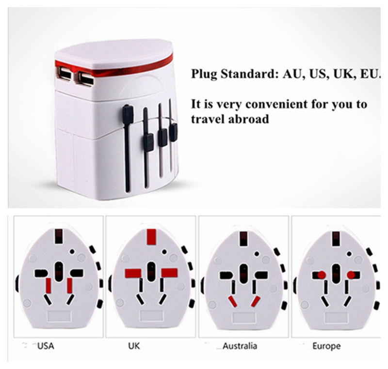 Convinien All in One Universal International Plug Adapter 2 USB Port World Travel AC Power Charger Adaptor with AU US UK EU Plug(China (Mainland))