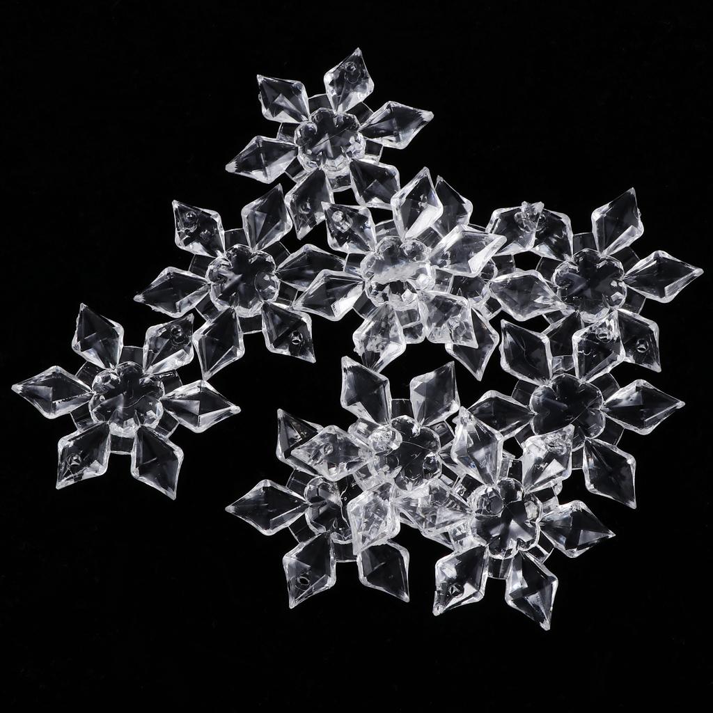10Pcs Clear Acrylic Crystal Snowflake Buttons Sewing Wedding Table Decor Acrylic Bead Curtain Lamp Pendant