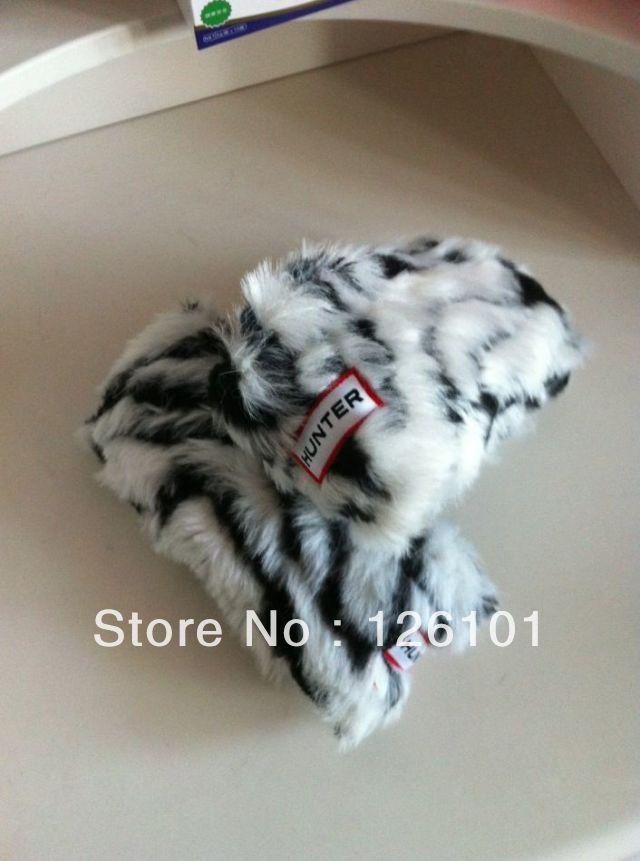 2013 knee-high socks fur ankle sock klaas rain boots Leopard grain wellies wool - Beyonca bai's store
