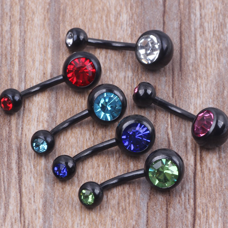 Piercing Belly Mix Colors 50pcs 14g Anodized Black Body Jewelry Double gem Navel Ring Press Fit Belly Button Ring(China (Mainland))