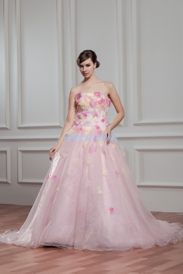 Free shipping 2013 new hot sale handmade flowers gothic for Plus size pink wedding dresses