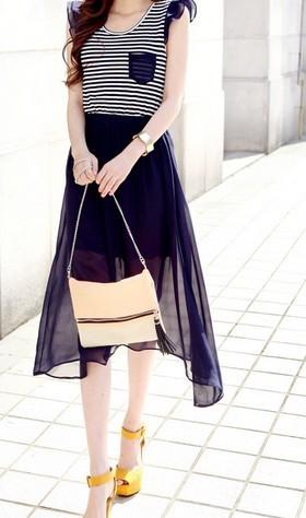 2013 fashion elegant stripe patchwork irregular sweep o-neck dress