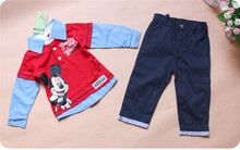 2015 new Baby boys 2pcs set autumn mickey full sleeve T shirt Pants bebes wear infants