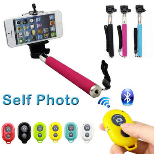 HOT SELFIE BLUETOOTH REMOTE SHUTTER + MONOPOD Telescopic Handheld iPhone Galaxy - All gadgets cooperation store