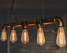 Loft vintage American country iron water pipe pendant lamp brass finished(China (Mainland))
