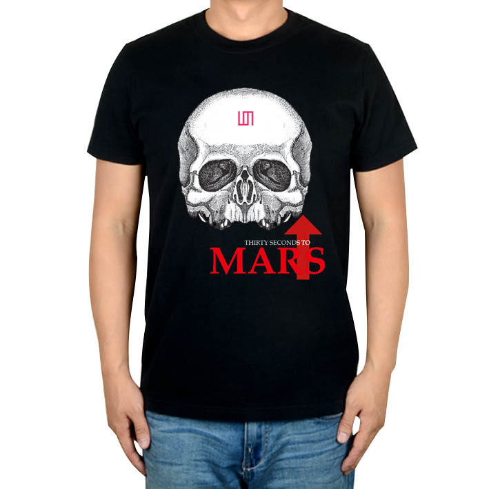 3 kinds Skull Summer Style 30 Seconds to Mars Punk Rock Band camisetas hombre Ropa Mujer shirt Cotton Heavy Metal print XXXL(China (Mainland))