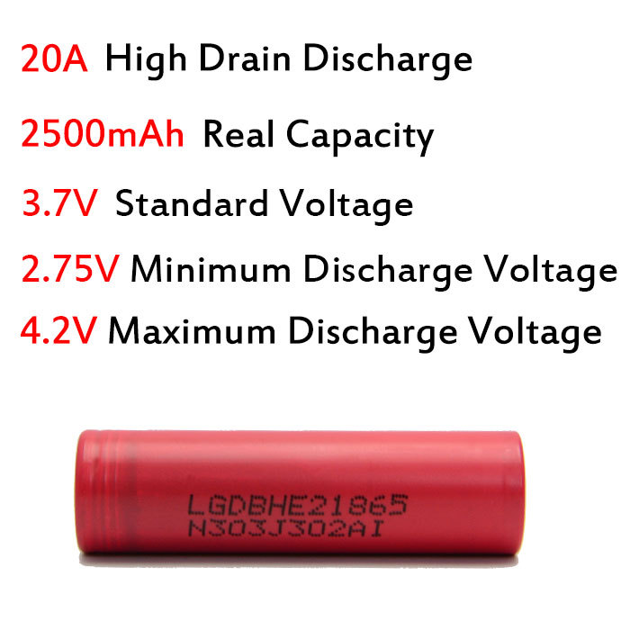4pcs Consumer Electronics Power Source Rechargeable Batteries 18650 rechargeable battery for LG HE 2
