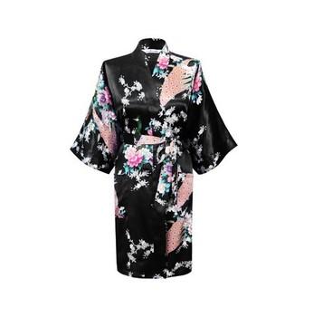 Черный женщины в павлин кимоно ванна халат ночная рубашка платье юката халат пижама ...