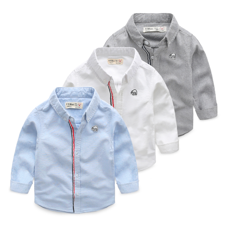 Child solid color shirt male child spring shirt 2017 children's clothing spring baby top fashion long-sleeve