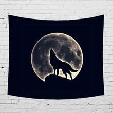A Cena da noite Unicórnio Parede Tapeçaria Pendurada Animais Selvagens do Lobo Sereia Estrela Lua Camping Cobertor Casa de Montanha Poliéster Decoração(China)