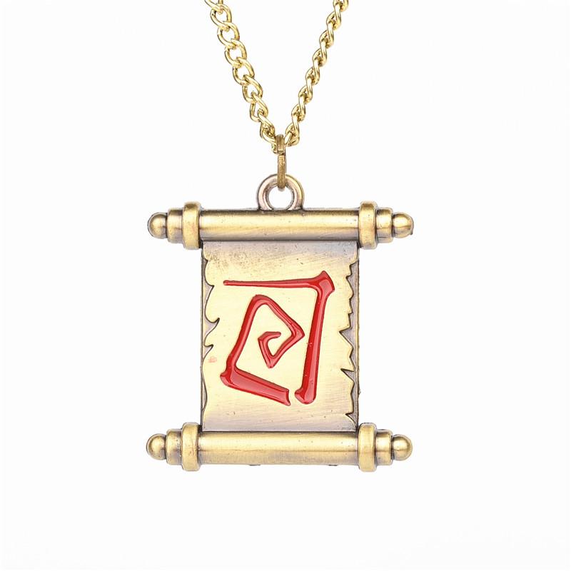 Free Shipping Game Jewelry Dota 2 Transfer Roll Sleeve Pendants Vintage Bronze Necklace Wholesale 24pcs/lot(China (Mainland))