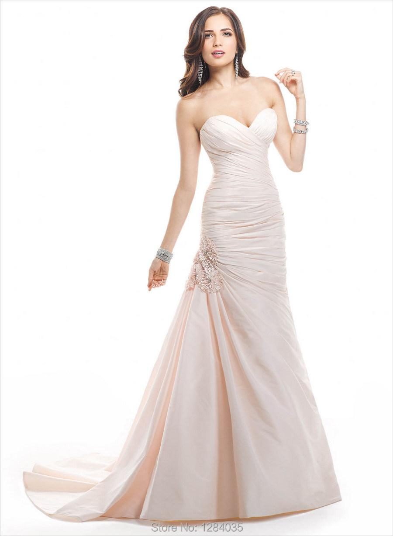 Popular light pink wedding dress simple plain wedding for Simple pink wedding dress
