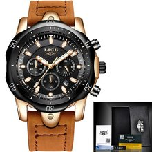 Relogio masculino lige relógio de quartzo de luxo para homem azul dial relógios de esportes relógios de fase da lua cronógrafo cinto de malha relógio de pulso(China)