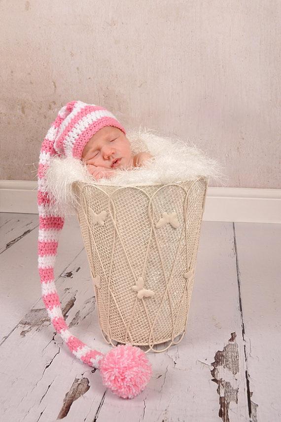 free shipping,CROCHET NEWBORN BABY white & pink LONG TAIL ELF HAT,100% cotton baby Stocking Hat - PHOTO PROP(China (Mainland))