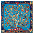 LESIDA 100 Silk Twill Big Square Towel Ladies Scarf Tree Flower Elephant Pattern Folk Custom