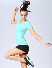 Women Sports T-shirt short sleeved perspiration wicking jogging fitness clothes wa14(China (Mainland))