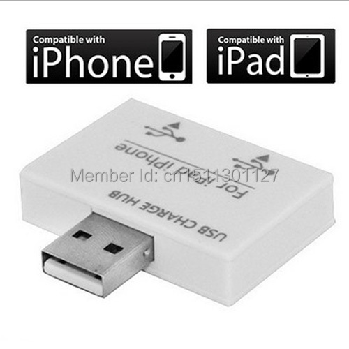 Free Shipping 2 USB Port Splitter Charger Hub for Apple iPhone 3G 3GS 4 4S iPad 1 2 3 Tablet PC Moible phone B1182 dI4(China (Mainland))