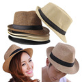 Newest 2015 Trendy Unisex Cap For Women Summer Beach Sun hats Large Brim Straw Hat Men