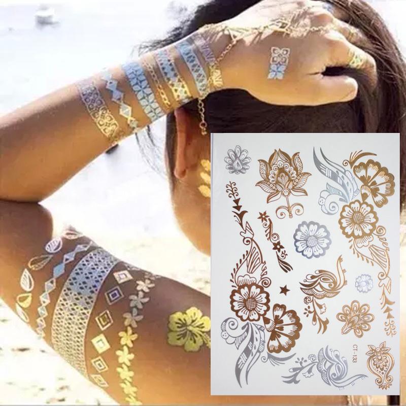 New Indian Arabic Designs Golden Silver Flash Tribal Henna