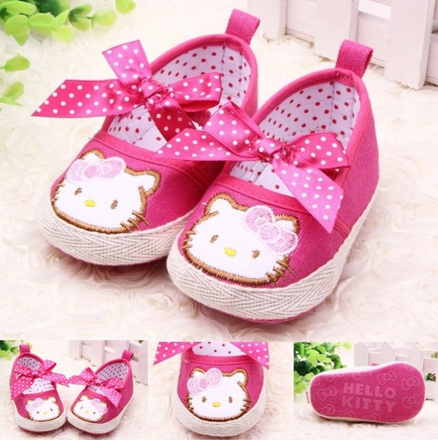 Free Shipping 2015 Rose Kitty Princess Shoes Spring/Autumn Baby Girl Toddler Shoes 11CM 12CM 13CM First Walkers 5506