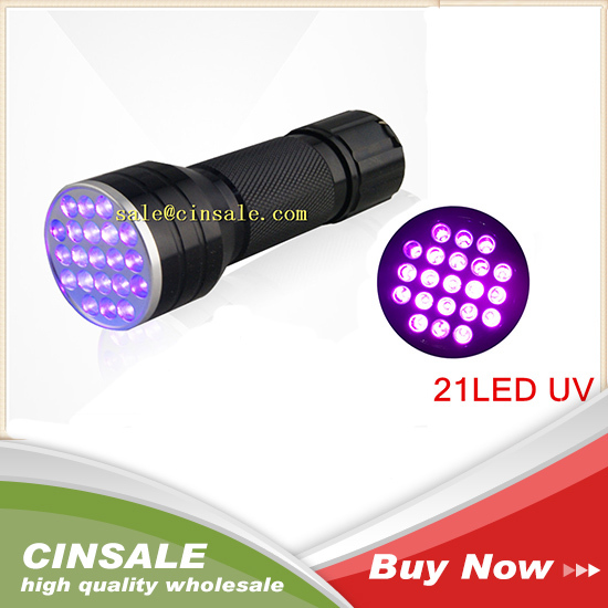 High Quality 21 LED Aluminum Shell Ultraviolet Flashlight UV 395 nM Support Standard AAA Batteries Money Detector(China (Mainland))