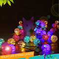 2016 New Solar LED Rattan Lights 20 Thailand Sepak Takraw Ball String Christmas Lights Villa Wedding