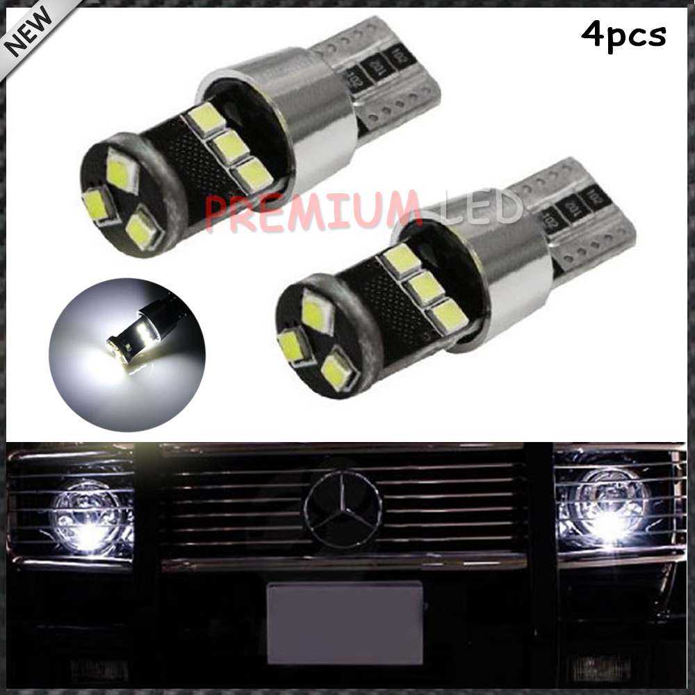 (4) HID Match Xenon White 9-SMD-2835 CAN-bus Error Free T10 W5W LED Parking Light Bulbs For Audi BMW Mercedes Volkswagen & More(China (Mainland))