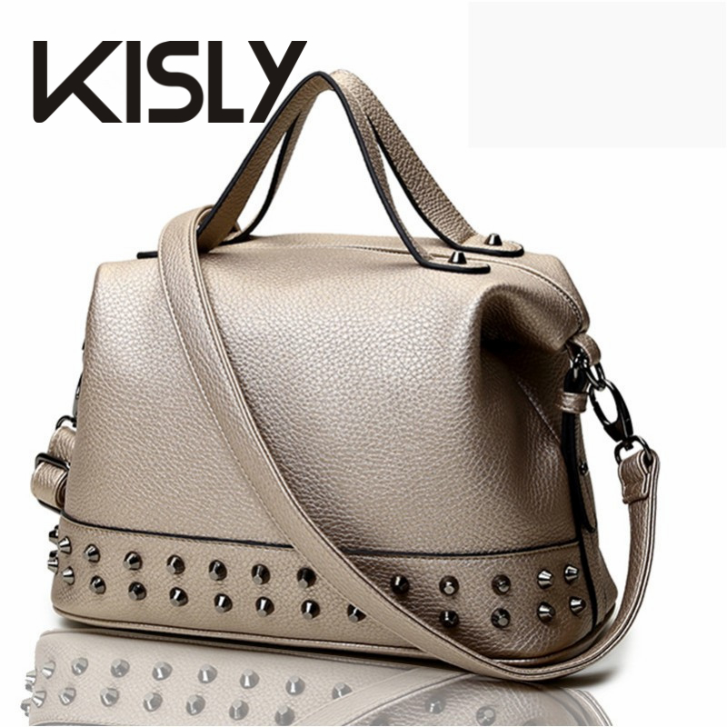 KISLY Fashion women handbags rock style medium classic women messenger bag with rivets ladies bags motorcycle handbag FWH35(China (Mainland))