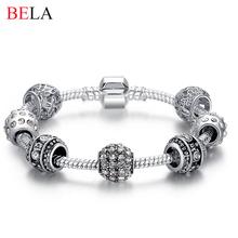 Mujeres de moda pulsera de plata del cristal plateado pulsera del encanto del grano para Women Fine Jewelry pulseras originales regalo PS3005(China (Mainland))
