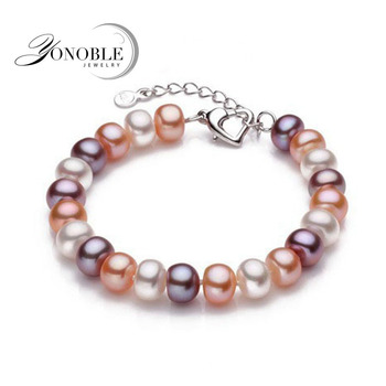 Real natural pearl bracelets women,Multi cultured freshwater pearl bracelet 925 silver jewelry wedding daughter birthday gift