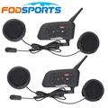 Fodsports Brand 2017 Updated soft Headset 2 pcs V6 Pro Motorcycle helmet bluetooth headset Intercom BT