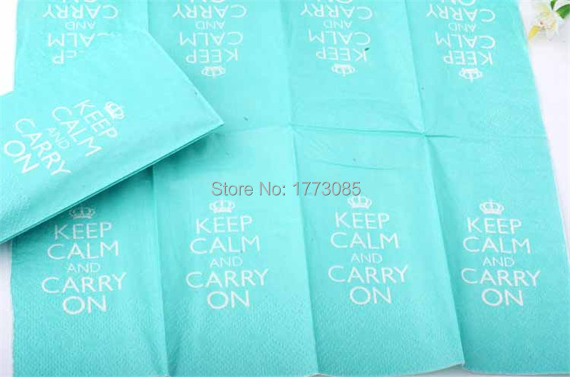 free shipping 120pcs 21x21cm(8.26inch) full page green printed party decoration paper napkins(China (Mainland))
