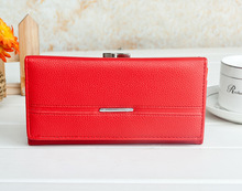 Burst same paragraph 2015New Fashion good quality Women Wallet Long Clutches Coin Purse Solid Embossed Litchi Grain Hasp Wallets