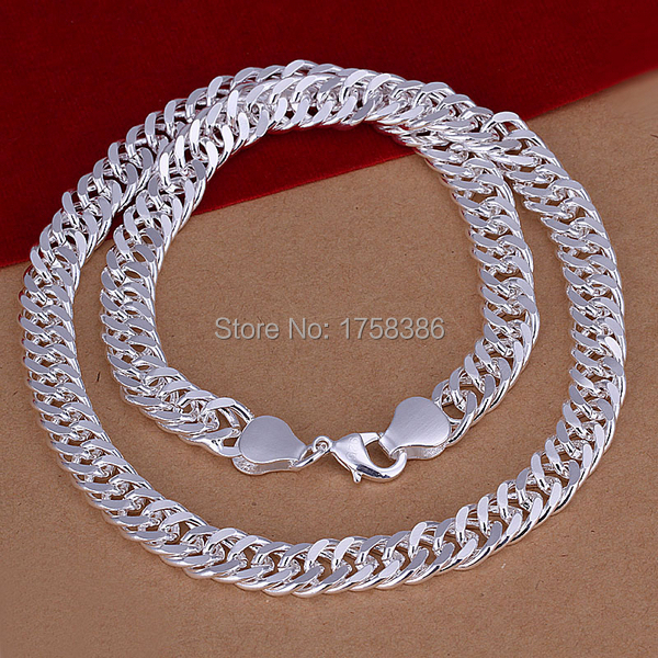 Classic Fashion 20 inch Top quality 925 solid sterling silver Men men's Male chain Link 10MM necklace Pendant Boy gift box KX39(China (Mainland))