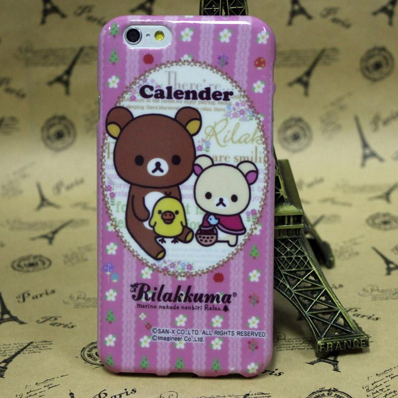 Free Shipping Customized Rilakkuma Transparent Cell Phone Cases 6 6 plus Fashionable High Quality Plastic Mobile Phone Covers(China (Mainland))