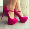 Hot Pink Thin High Heel Closed Round Toe Platforms Slip ons 14cm High Heel Stilettos Fashion