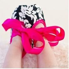 Infant Baby Toddler Girl Dot Damask Zebra Leopard Print Silk Ribbon Shoe Newborn