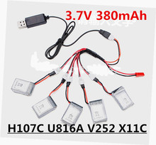 5pcs 3.7v 380mah lipo battery and USB charger for Hubsan X4 H107 H107C Wltoys Walkera U816A V252 Syma X11C Mini rc Quadcopter