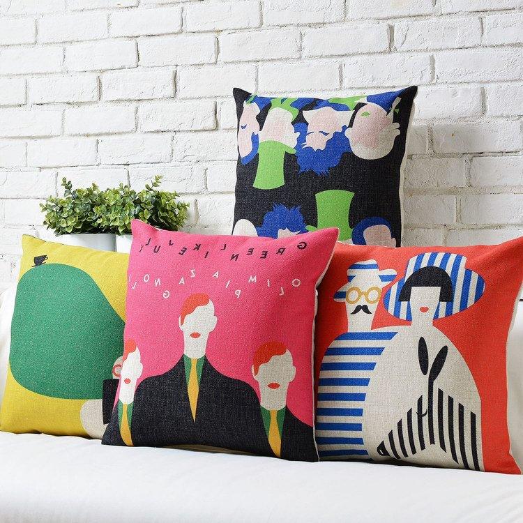 Modern Colored Abstract Art cotton Linen pillow cushion Square Pillowcases Home Decor sofa cushions