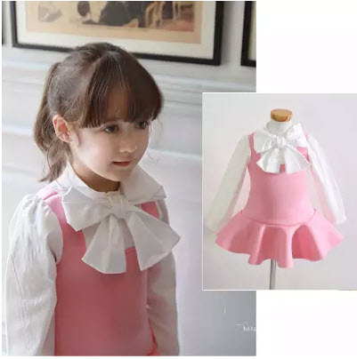 Free shipping 2015 autumn girls ruffle dress baby kids faux two pieces school college uniform big bow princess dress baby outfit(China (Mainland))