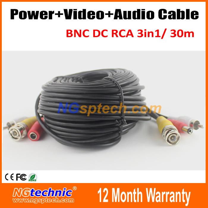 CCTV Camera Accessories Video Power Audio Cable for Surveillance System BNC DC RCA 3in1 30m CCTV Camera Video Cable<br><br>Aliexpress